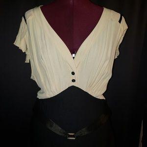 Stop Staring! 30's Cream & Black Dress 3XL